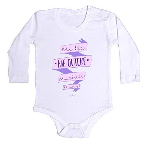 """Body bebé regalo nacimiento - manga larga - Mensaje""""Mi tía me quiere muchííííííííííísimo"""" (Blanco, 3 meses)"""