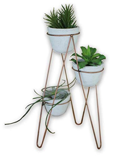 """Kalalou Whitewashed Small Clay Flower Pots and Copper Wire Base, Set of 3 Pots, 4"""" tall x 4"""" diam each"""