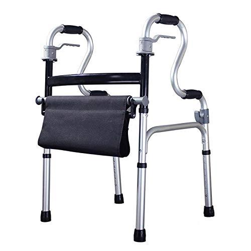 Bastidor para Caminar de Ayuda para Caminantes estándar con Asiento Soporte para apoyabrazos Aleación de Aluminio Gruesa Rehabilitación Vida Diaria Auxiliar Viajes para Ancianos discapacitados