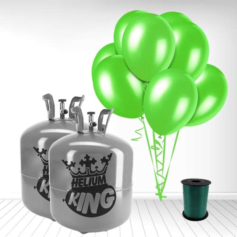 hasta un 65% de descuento Cilindro de gas de helio desechable con con con 100 globos verde lima y cinta rizadora  Garantía 100% de ajuste