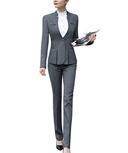 YUNCLOS Women's Elegant Business 2 Piece Office Lady Suit Set Work Blazer Pant