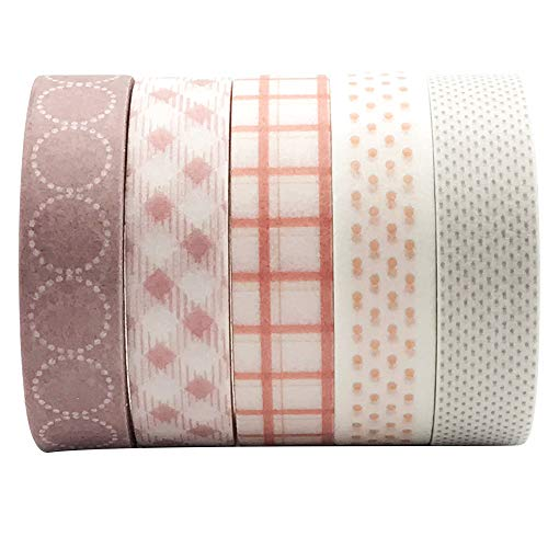 5 Rolls Sakura Basic Collection Decoration Washi Tape Set, EnYan 10mm Wide Japanese Masking Decorative Tapes for Bullet Journal Planners DIY Crafts and Arts Scrapbooking Adhesive