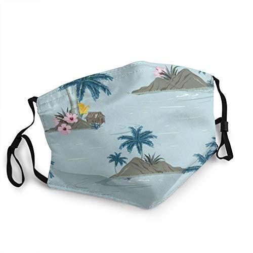 ZVEZVI hermosa isla tropical boca cuello polaina bufanda personalizada lavable media máscara con orejera ajustable divertido pasamontañas pañal