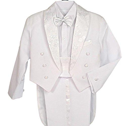 Lito Angels - Esmoquin para niño pequeños (5 piezas, formal) Traje de vestir de caballero Color blanco (con faja y pajarita) 4 años