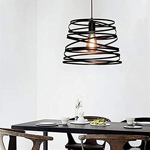 Auoeer Araña Americano Retro Estilo Industrial luz de Techo lámpara Espiral Hierro Negro Barra araña Restaurante cafetería Sala salón Comedor Estudio e27 Bombillas 32 * 22