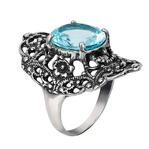 PAZ Creations .925 Sterling Silver Statement Filigree Ring with Blue Topaz (5)