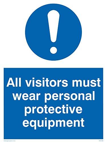 Viking segni mc5398-a3p-1m'tutti i visitatori deve indossare dispositivi di protezione individuale' Sign, 1mm in plastica semirigida, 400mm altezza x 300mm larghezza