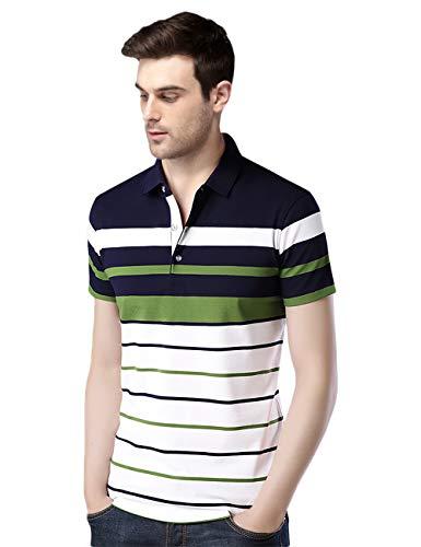 EYEBOGLER Men's Regular Fit Auto-Striper T-Shirt (L-T285HS-AS7WHDNGR_1)
