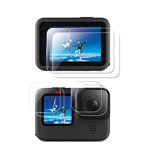 QULLOO Displayschutzfolie für GoPro Hero 9 Black/Hero 10 Black, Panzerglas Schutzfolie Zubehör Schutzkamera Folie HD Klar Objektivschutz für GoPro Hero 9/10 Black Action Kamera [6 Stück]