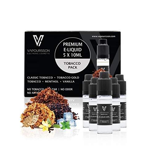 VAPOURSSON 5 X 10ml Tabak E Liquid, 0mg Klassik Tabak, Gold Tabak, Rich-Tabak, Menthol, Vanille, Neue Formel für starken Geschmack, hochwertigen, Für elektronische Zigaretten und E Shisha hergestellt.