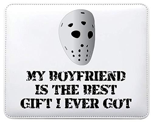 Mo26 Mauspad mit Aufschrift My Boyfriend is The Best Gift I Ever Got Horror Hockey Maske