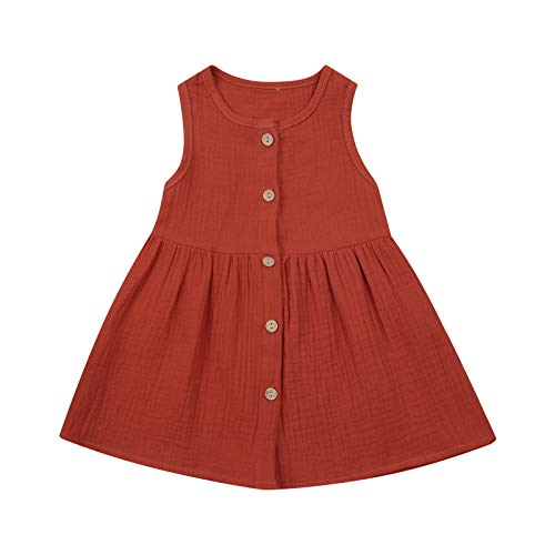 iddolaka Infant Toddler Baby Girl Summer Dress Sleeveless Cotton Linen Pleated Dresses Skirts Party Casual Sundress (A-Button Sleeveless Dress Claret, 2-3T)