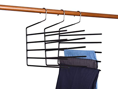 Amber Home 3 Pack Metal Pants Hanger, Non Slip Multi-Layer Jeans Trouser Hanger, 5 Tier Open Ended Slack Hanger Closet Organizer Space Saver for Tie Scarf Shock Jeans Towel Clothes (3 Pack)