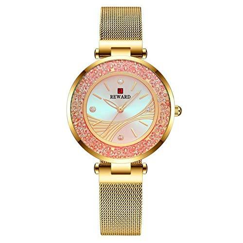 JCCOZ-URG Marca de Lujo Reloj de Las Mujeres Dial Damas de Acero Inoxidable Tendencia de Cuarzo Relojes de Pulsera de Reloj Impermeable Regalos Femeninos URG (Color : Golden Box)