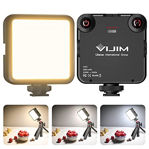 Luce Video Led, VIJIM VL81 Mini Luci Fotografica 2500K-6500K Temperatura del Colore con 3000 mAh Batteria, Luci Fotografiche Portatile Lampada Pannello per Fotocamera,DSLR und Fotografia
