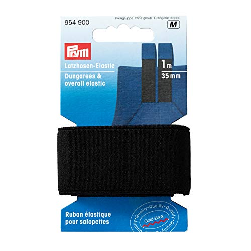 Prym 954900 Latzhosen-Elastic 35 mm schwarz, 76% PES 24% ED