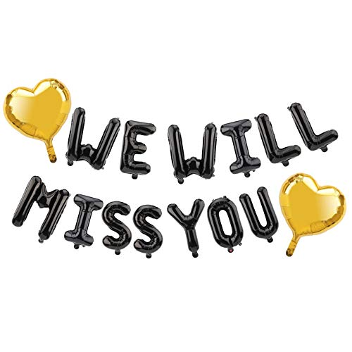 Lnlofen Farewell Party Decorations Kit - Including Black We Will Miss You Balloon Banner & 2Pcs Gold Heart Foil - Going Away Party Retirement Party Goodbye Party Job Change Party Decorations Supplies