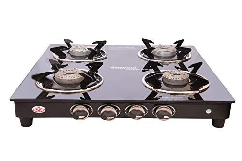 Suryajwala Gt04 Cast Iron Lpg Compatible Royal 4 Burner Manual Gas Stove,...