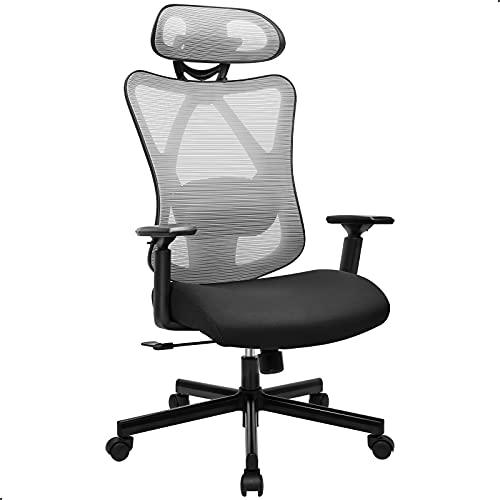 BASETBL Bürostuhl Schreibtischstuhl Ergonomischer Drehstuhl Verstellbarer Lendenstütze/Kopfstütze/Armlehne Computerstuhl Neigbarer, Netz-Hochlehne Höhenverstellbar, Wippfunktion belastbar bis 150KG