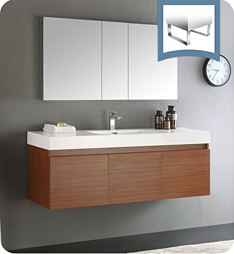 "Fresca Mezzo 60"" Teak Wall Hung Single Sink Modern Bathroom Vanity w/Medicine Cabinet"