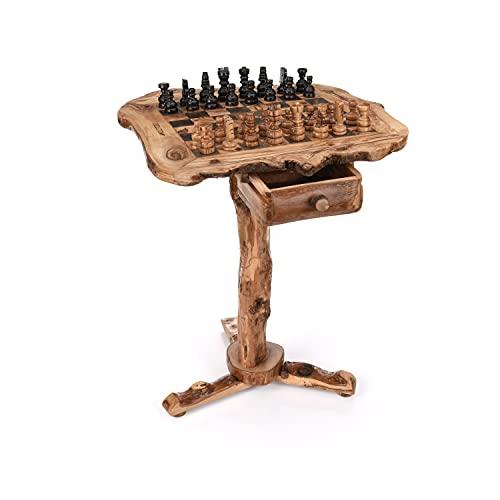 OLIVIEU ~ INTELLIGENTE ~ Schachtisch ~ 50 * 61 cm ~ Schachspiel Holz Hochwertig ~ Schach Tisch Möbel aus Olivenholz ~ Deluxe-Schachbrett Holz