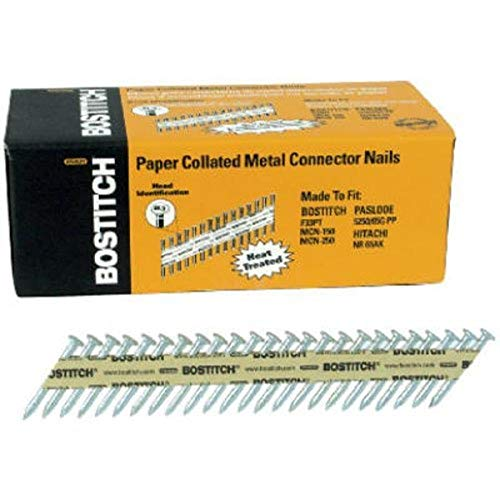 BOSTITCH Framing Nails, Paper Tape Collated, Galvanized Metal Connector, 1-1/2-Inch x .131-Inch, 1000-Pack (PT-MC13115G-1M)