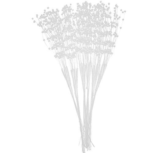 Homyl Ensemble de 60 Pièces Tiges de Perles Artificielles pour Bricolage Fleurs de Vase - Diamètre 3mm - Blanc