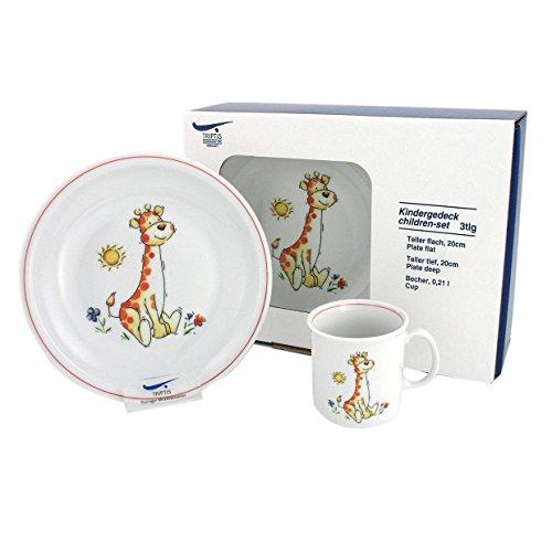 Eschenbach Porzellan Group Kindergeschirr Giraffe Kindergedeck 3tlg, Porzellan, dekor, 1 x 1 x 1 cm