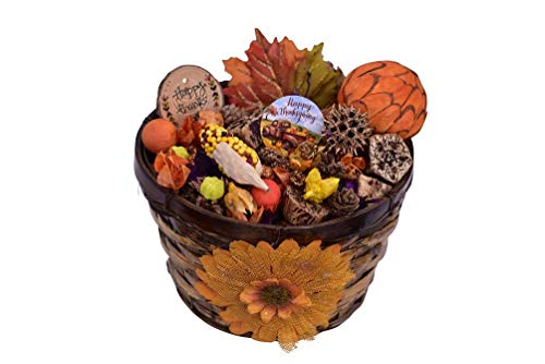 Jacqver Autumn Spice Pumpkin Potpourri Basket- Ready to Display in a Beautiful Basket. Made in The USA. Mother-Daughter Handcrafted with All Our Love, Long Lasting invigorating Essential Oil Aromas.