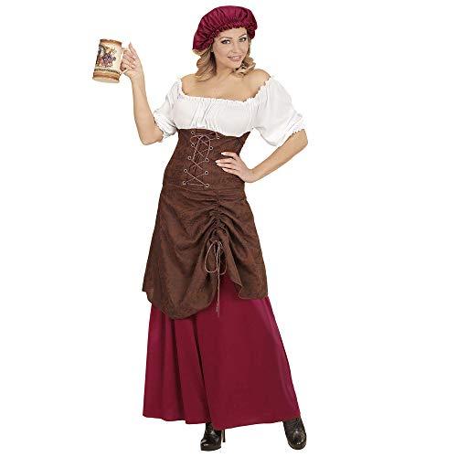 Widmann 01493 Kostüm mittelalterliche Wirtin, Damen, Braun/Rot/Weiß, L