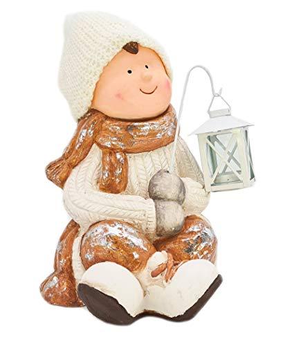 Gnomo collezione XXL, decorazione natalizia 35 cm, bambino con lanterna