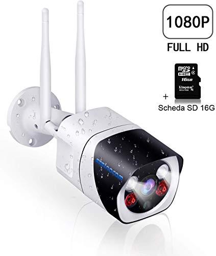 Videocamera Sorveglianza Esterno WiFi,SZSINOCAM Telecamera IP 1080P Telecameras di Sicurezza Visione Notturna Intelligente, Allarme di Movimento, Audio Bidirezionale, Allarme Email,IOS/Android/PC