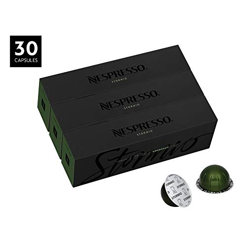 Nespresso Capsules VertuoLine, Stormio, Dark Roast Coffee, 30 Count Coffee Pods, Brews 7.8oz