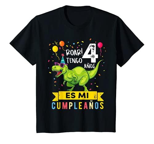 Niños 4 Cumpleaños niño y niña Dinosaurio Regalo de 4 Años Camiseta