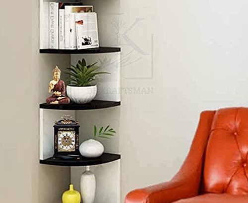 De KRAFTSMAN - Estante esquinero para sala de estar, madera, estante de pared, 7 niveles, color negro y blanco
