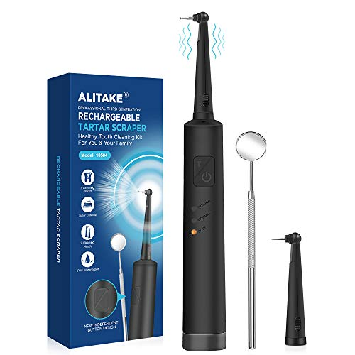 Tartar Scraper, Alitake Dental Tools Electric Dental Calculus Remover Teeth Stain Remover Dental Dental Hygiene Kit with Oral Mirror, LED Light and Replaceable Cleaning Heads-Black
