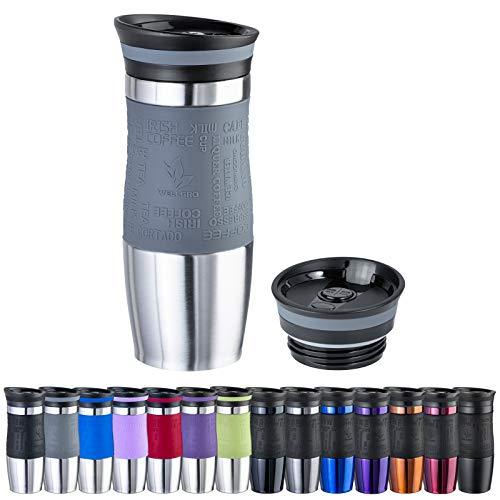 WELLGRO Thermobecher 400 ml + 1 Extradeckel - Edelstahl rostfrei - Silikon Soft-Touch Griffstück - BPA-frei - Isolierbecher doppelwandig - Travel Mug - Kaffeebecher to go, Farbe:Grau