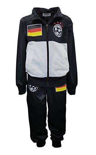 Sports Jungen Trainingsanzug Deutschland, in Schwarz/Weiß, Gr. 110/116, JF056.6