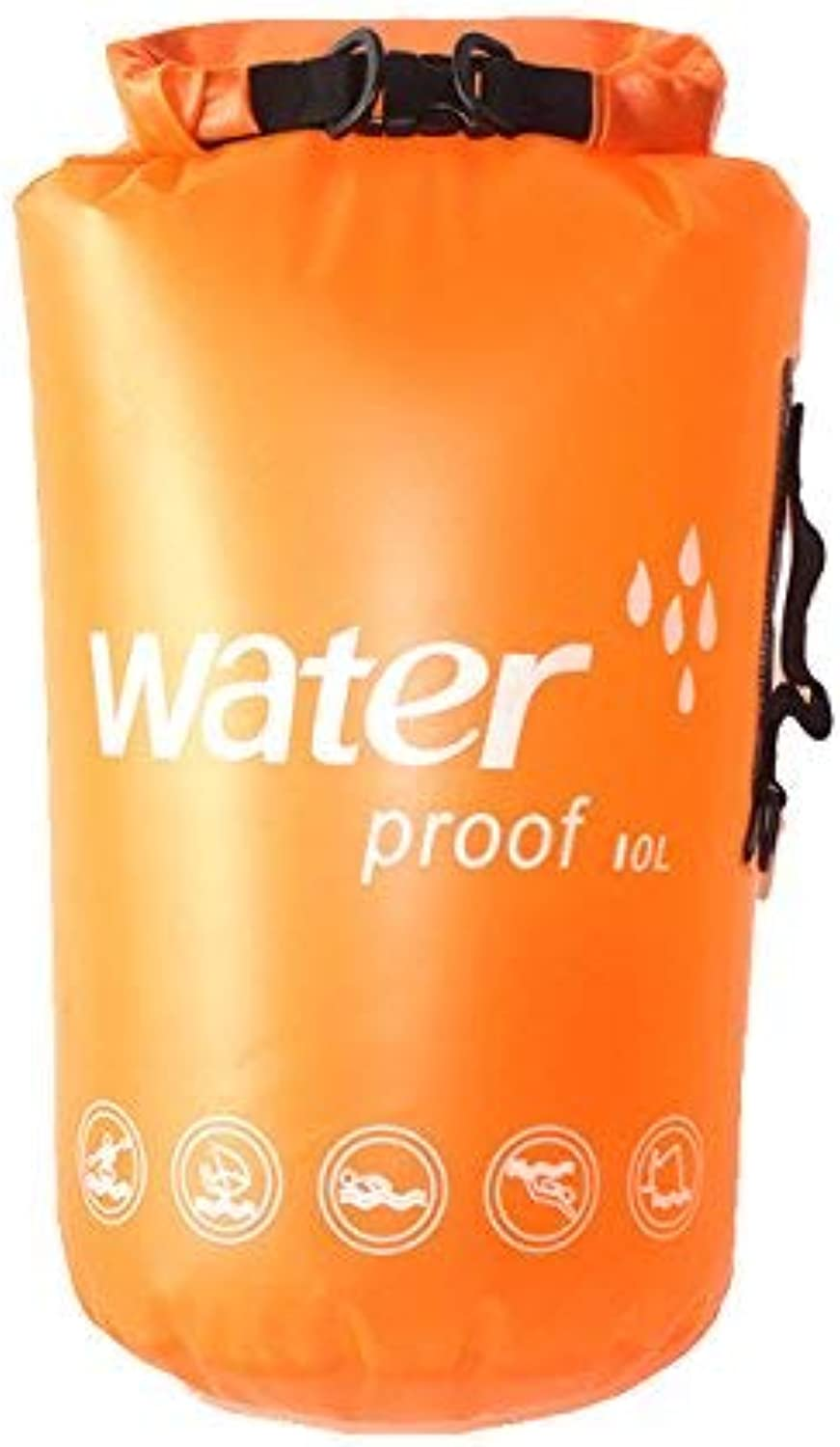 E-Onfoot Waterproof Dry Bag with Shoulder Strap - Roll Top Dry Compression Sack Keeps Gear Dry for Kayaking Rafting Boating Swimming Camping Hiking Beach Fishing (orange-10L)