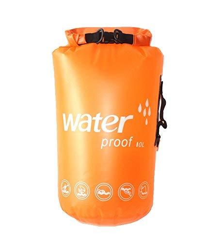 E-Onfoot - Bolsa impermeable con correa para el hombro, bolsa de compresión seca enrollable que mantiene el equipo seco para kayak, rafting, barcos, natación, camping, senderismo, playa, pesca, Orange-10L