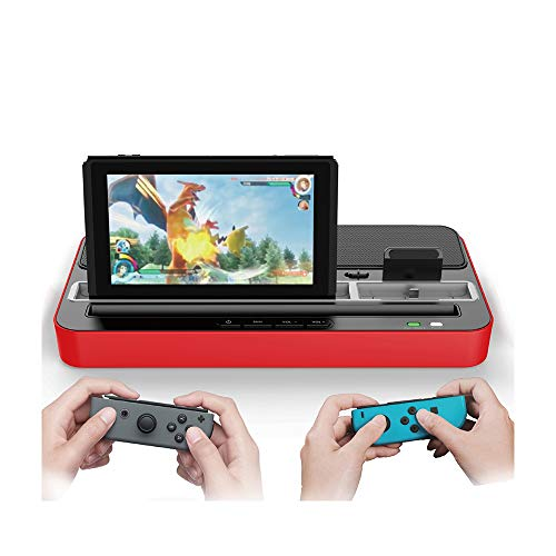 Gogh geschikt voor N-Switch/iPhone/iPad multifunctionele dock-luidspreker NS-gaming dock oplader luidspreker met micro-en USB-type C conversie adapter-dock, rood