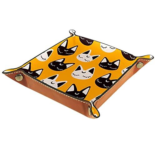 Bandeja de Cuero Historieta de lunares de patrón de gatos encantadores Almacenamiento Bandeja Organizador Bandeja de Almacenamiento Multifunción de Piel para Relojes,Llaves,Teléfono,Monedas