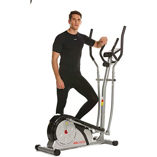 ANCHEER Magnetic Elliptical Machine, Fitness Compact Ellptical Machine with Digital Monior, 8 Level Resistance, LCD Heart Rate Sensor for Home Use (Silver)
