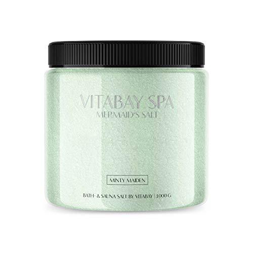 Vitabay Sauna- und Badesalz Minty Maiden 1000 g • Sanftes Körperpeeling • Whirlpool geeignet