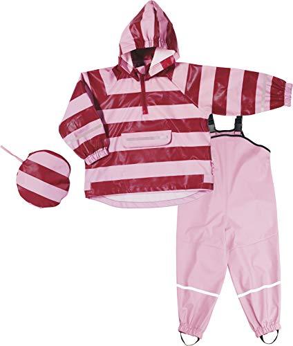 Playshoes Mädchen Regen-Set Streifen Regenjacke, Rot (Rot/Rosa 788), (Herstellergröße: 92)