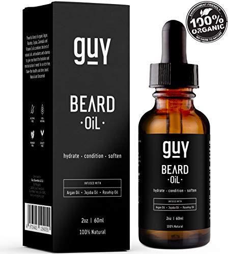 Beard Oil  100% Natural With Argan Oil, Jojoba Oil, Calendula Oil, Rosehip Oil, Aloe Vera  Unscented Beard Conditioner Moisturizer   Men's Vegan Beard Oil   Beard Grooming and Care. 2oz