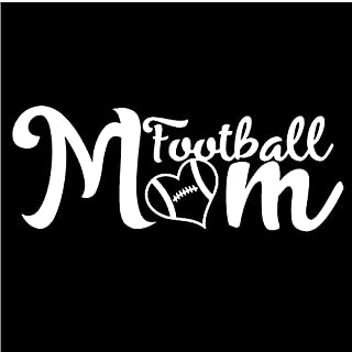 CMI Football Mom Vinyl Decal Sticker | 7-Inches by 2.7-Inches | Premium Quality White Vinyl | ND003W