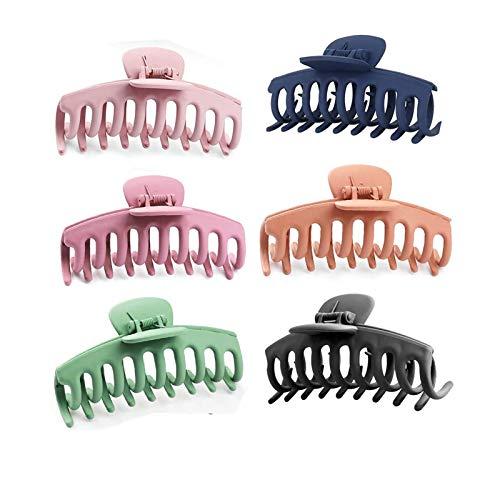 6 pak haarklauw clips, alldo haarklemmen stevige grip grote haaraccessoires plastic haargrepen voor lang dik haar