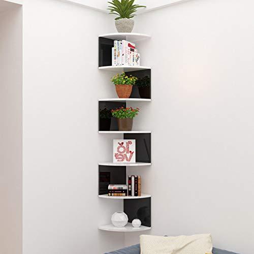 LUYIASI- Eckregal - 5/7 Tier Eckregale können für Eckbücherregal oder jedes Dekor verwendet werden Shelf (Farbe : Black and white - 7 layers)