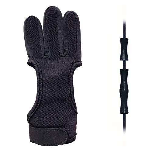 EAmber Archery Shooting Gloves,Three Finger Durable Cow Leather Protective Archery Gloves for Recurve Bows Hunting Finger (M 8cm) (M 8cm)